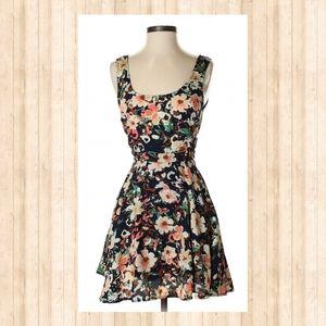 Floral Lace Up Side Zipper Mini Dress
